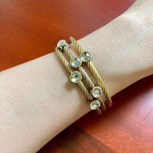 (3) Charriol Cable Bracelets - 18k Gold & Steel